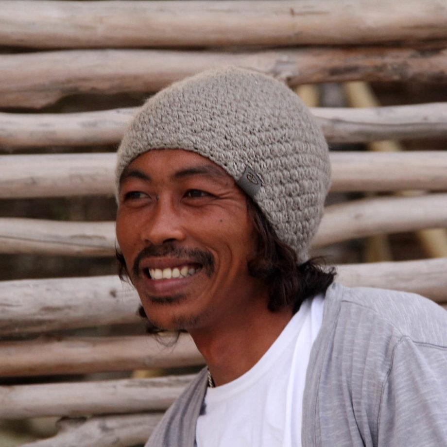 Man wearing KARO mud beanie