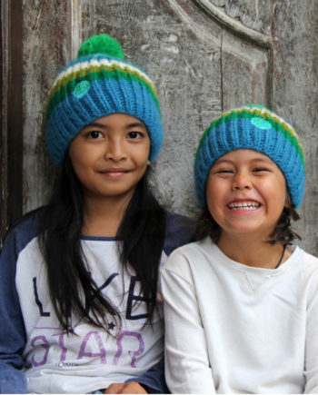 Kids wearing RAINBOW kids turkis beanie 2