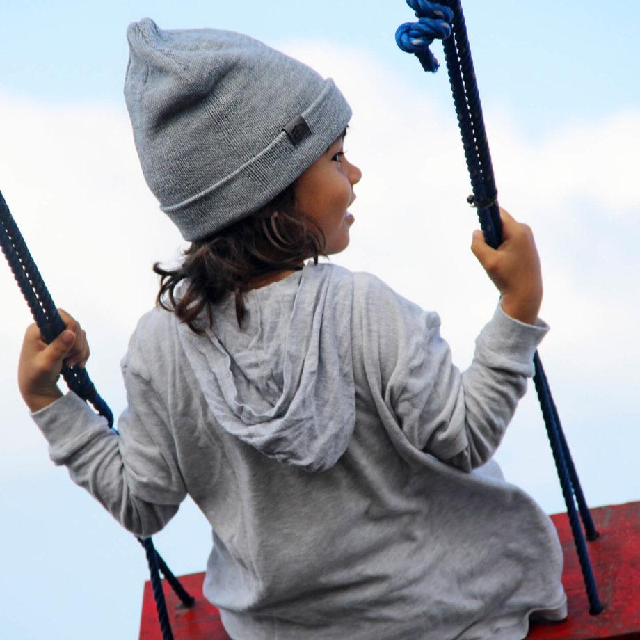 Boy wearing SRIKANDI kids grey beanie 2