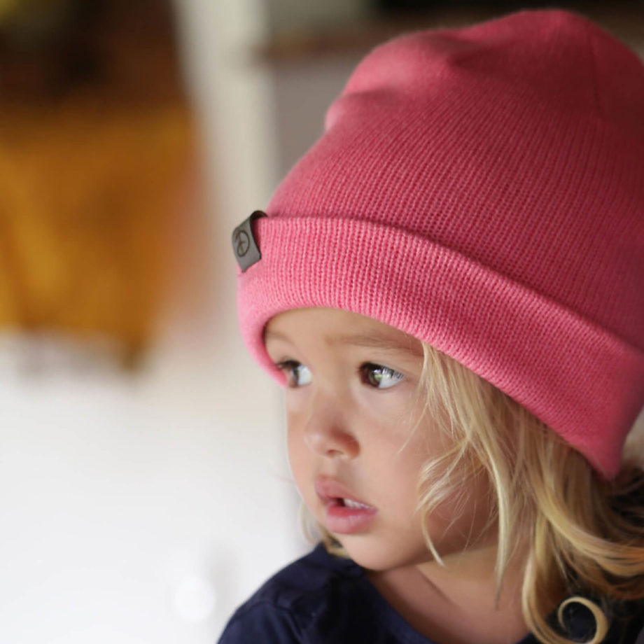 Girl wearing SRIKANDI kids rose beanie