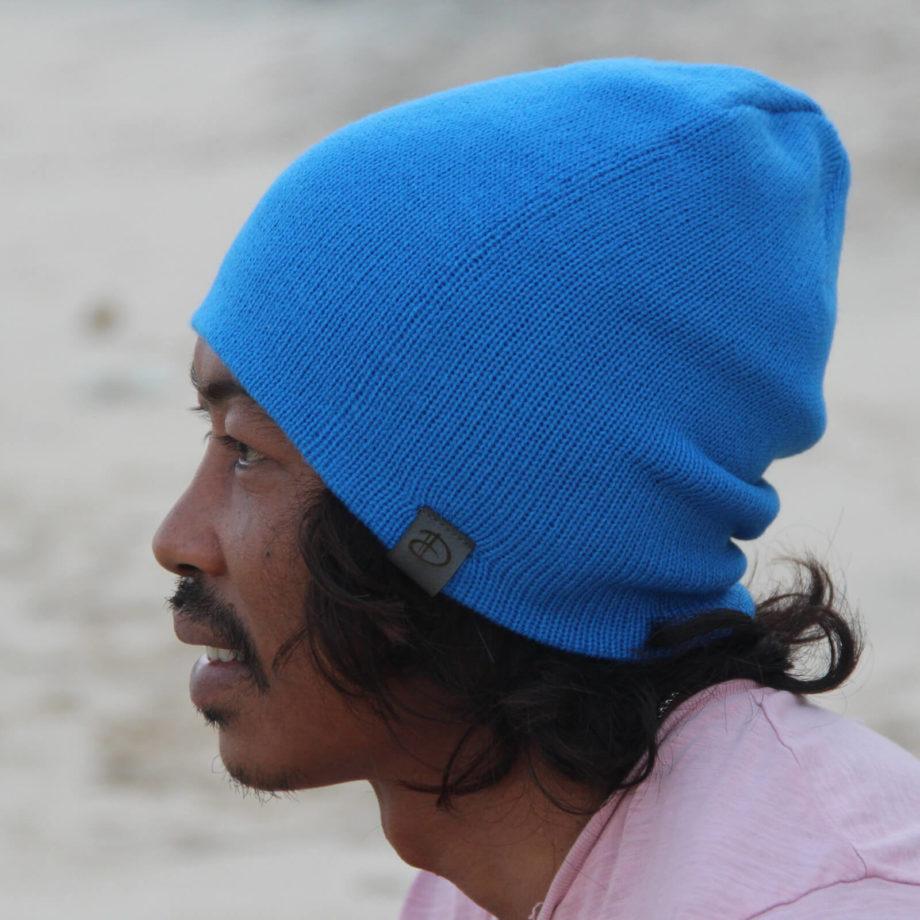 Man wearing SRIKANDI adults blue beanie